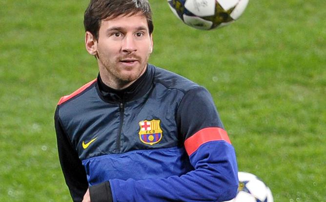 La estrella del F.C. Barcelona, durante el entrenamiento que realizó el martes su equipo en el estadio del Milan.