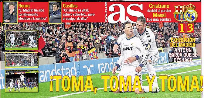 Portada doble del diario AS un día después del triunfo del Real Madrid en el Camp Nou