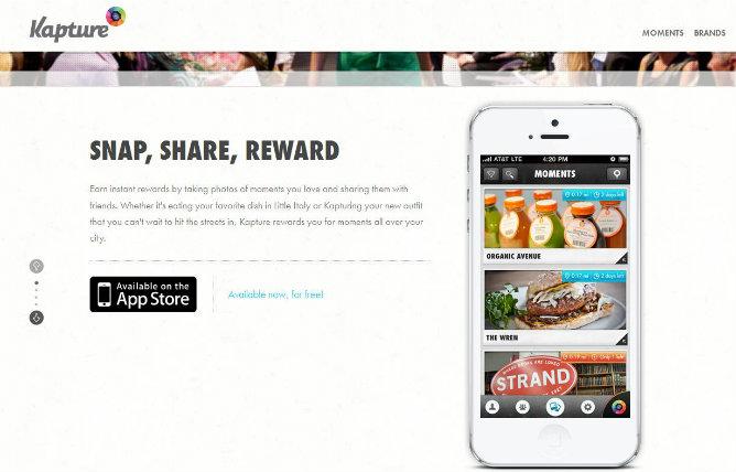 Captura de pantalla de la página web de Kapture