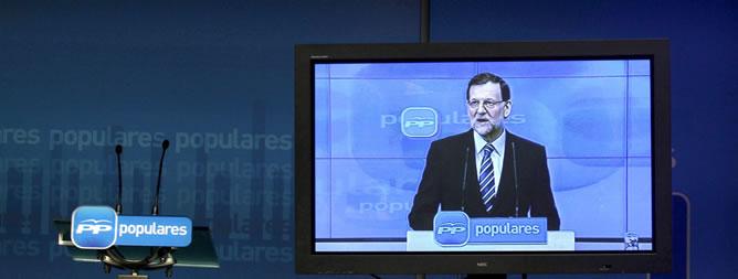 Monitor en la sala de prensa de la sede del Partido Popular, en la calle Génova, durante la intervención del presidente del Gobierno y del PP, Mariano Rajoy, en una reunión extraordinaria del Comité Ejecutivo Nacional el pasado 2 de febrero
