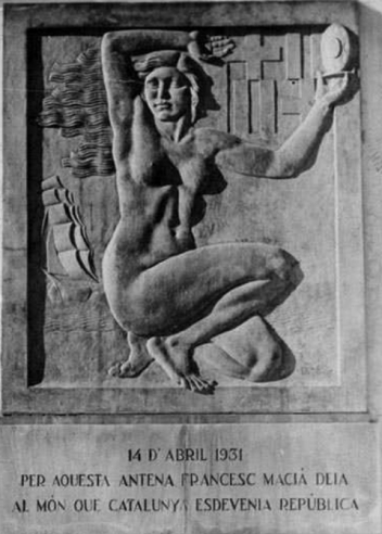 La placa original que aquest diumenge es restituirà a l'edifici de Ràdio Barcelona al Tibidabo
