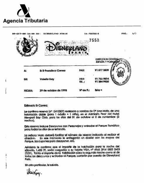 Contestación de Disneyland París a Francisco Correa sobre la reserva de Ana Mato