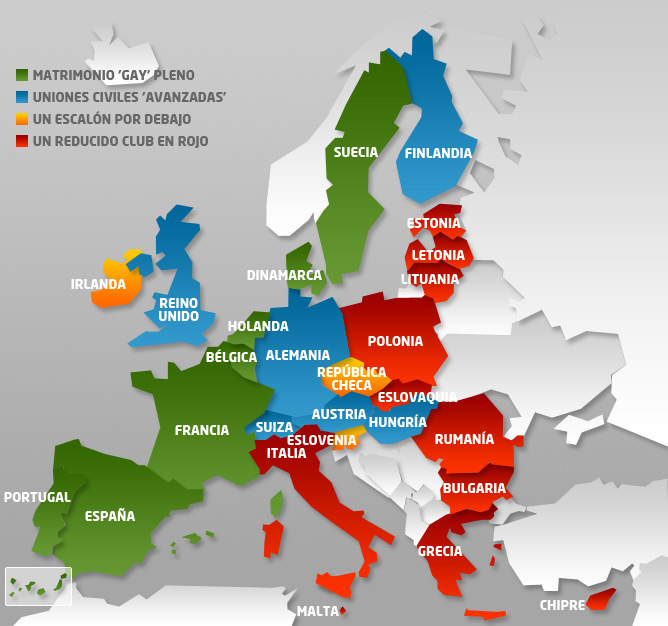 El colorido mapa del matrimonio gay en la UE  Internacional