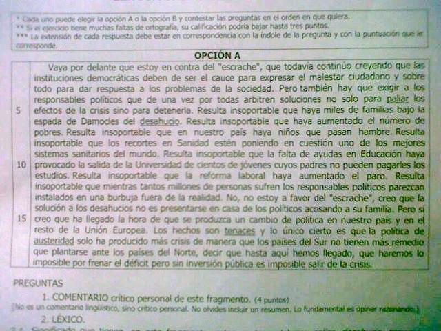 El artículo de Julia Navarro sobre el que tenían que hacer un comentario de texto en la Selectividad murciana