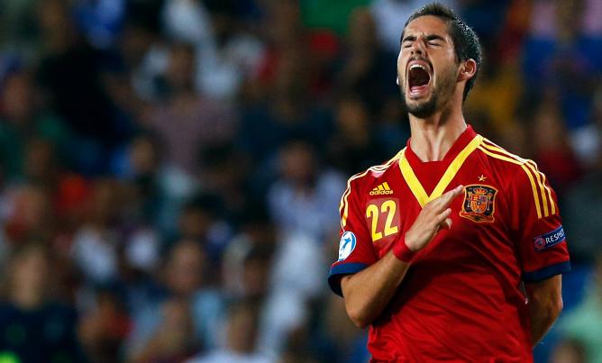 El jugador del Málaga, en uno de los encuentros de la Selección sub-21 del Europeo de Israel.