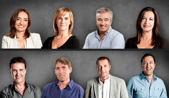 Los principales conductores de la SER: (De izquierda a derecha) Pepa Bueno,Gemma Nierga, Carles Francino, Àngels Barceló, José Ramón de la Morena, Javier del Pino, Manu Carreño y Ponseti