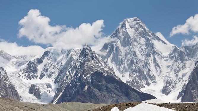 Vista general de las montañas que componen Gasherbrum en Pakistán
