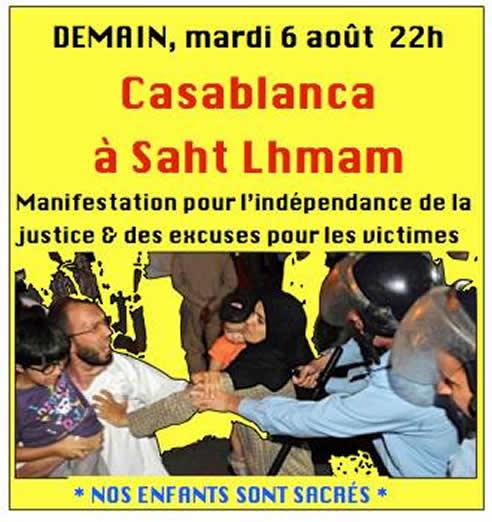 Cartel que informa de la celebración de una manifestación para la noche del 6 de agosto en las calles de Rabat para protestar por el indulto del pedeasta español