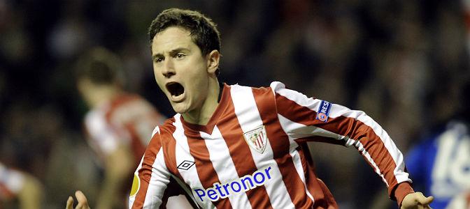 Ander Herrera celebra un gol con el Athletic