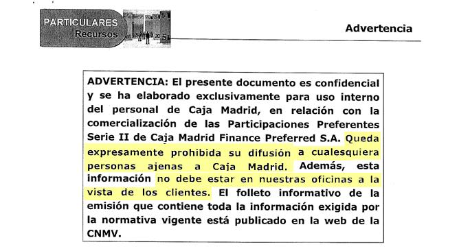 Caja madrid orden ocultar a sus clientes el argumentario para vender preferentes espa a - Caja espana oficina virtual clientes ...