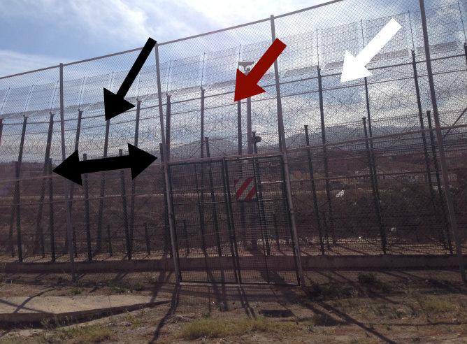 """Las flechas señalan las cuchillas y la valla """"antitrepa"""" colocada a lo largo de casi todo el perímetro en el lado marroquí"""