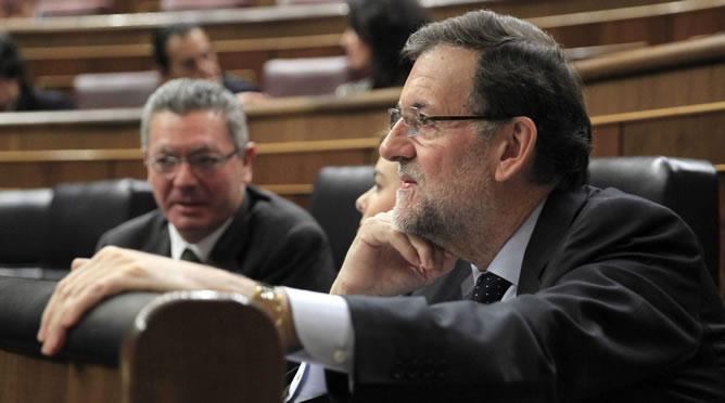 Rajoy, en el pleno del Congreso este miércoles, cuando se cumplan dos años de su victoria electoral