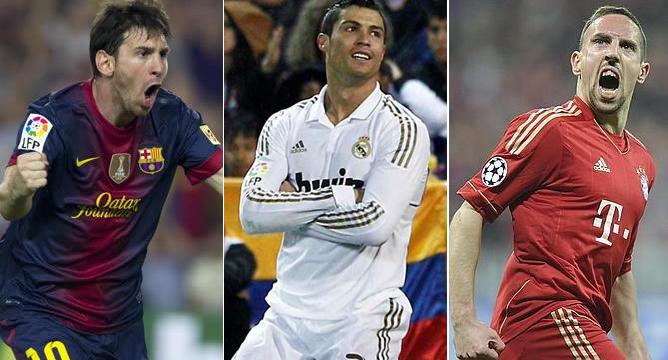 Las estrellas del F.C. Barcelona, Real Madrid y Bayern de Munich, candidatos a llevarse el Balón de Oro que distingue al mejor jugador de 2013.