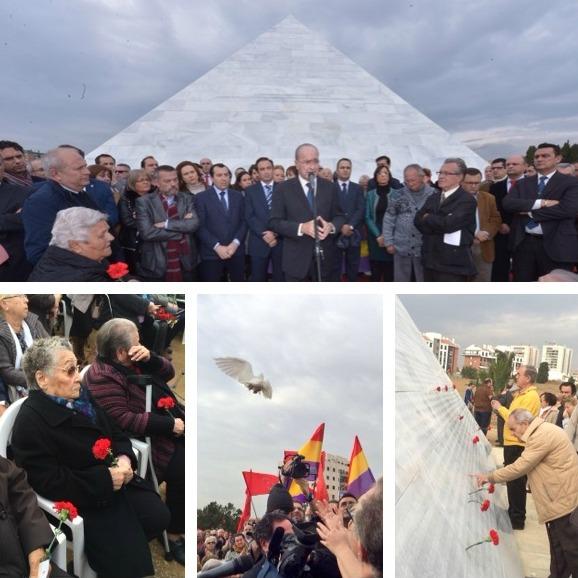 Diferentes momentos de la inaguración que ha tenido lugar en el cementerio de San Rafael de Málaga