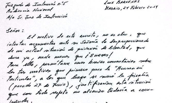 Carta de Luis Bárcenas al juiez Ruz a la que ha tenido acceso la Cadena SER