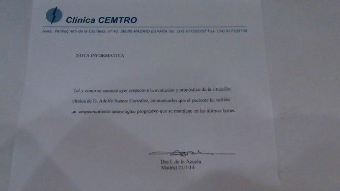 Último comunicado sobre el estado de salud del expresidente Adolfo Suárez