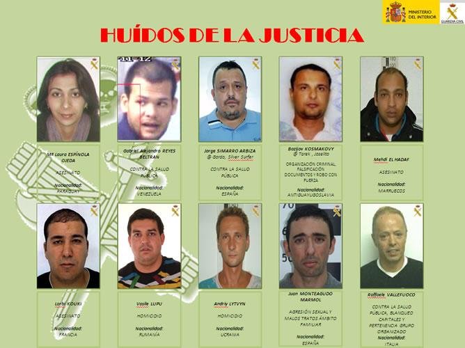 La Guardia Civil difunde la identidad de los diez fugitivos más buscados en España