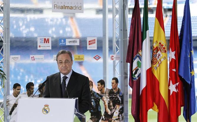 El presidente del Real Madrid, durante la presentación del 'Corazón Classic Match' entre los veteranos del Real Madrid y del Inter.