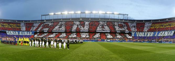 Uno de los lemas más repetidos de Luis Aragonés fue utilizado esta temporada como tifo en el partido de cuartos de final de la Champions entre el Atlético y el F.C. Barcelona.