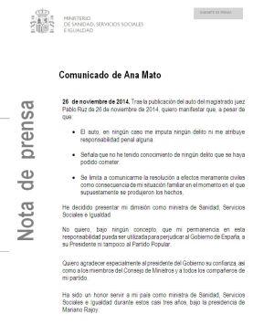 Comunicado de dimisión de Ana Mato