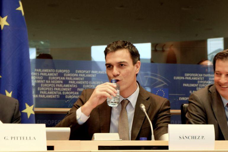 El secretario general del PSOE, Pedro Sánchez, interviene ante el plenario del grupo socialista del Parlamento Europeo