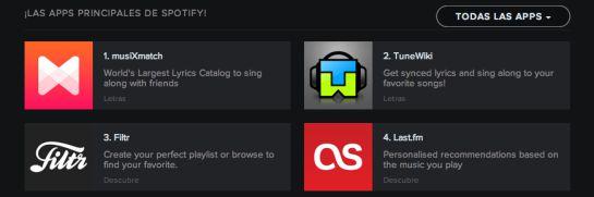 Aplicaciones de Spotify