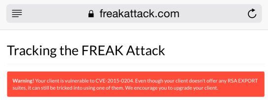 El ataque 'FREAK' afecta a todos los dispositivos iOS
