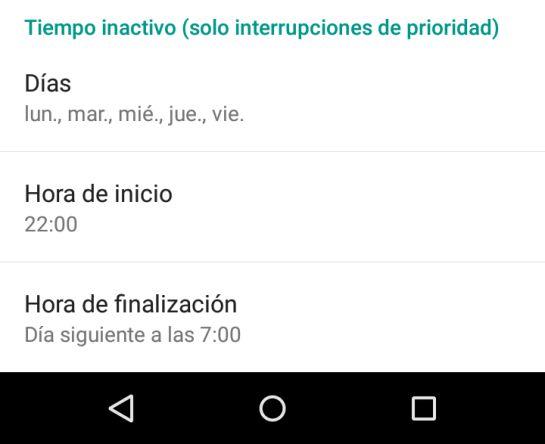 La función 'Interrupciones' de Android es muy similar