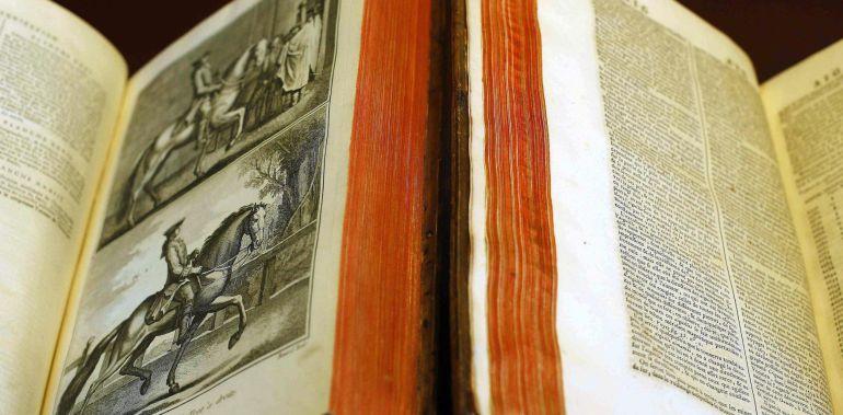 Detales de dos de los 28 tomos de la primera edición de la Enciclopedia francesa que la Real Academia Española (RAE) compró en París en el último tercio del XVIII, a pesar de que estaba prohibida en España y que han inspirado al escritor Arturo Pérez-Reverte para su nueva novela, 'Hombres buenos', una intriga ambientada en ese mismo siglo.