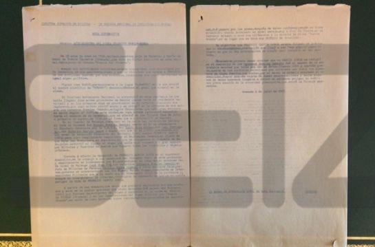Documento del régimen franquista fechado en 1965 sobre la muerte de Lorca.