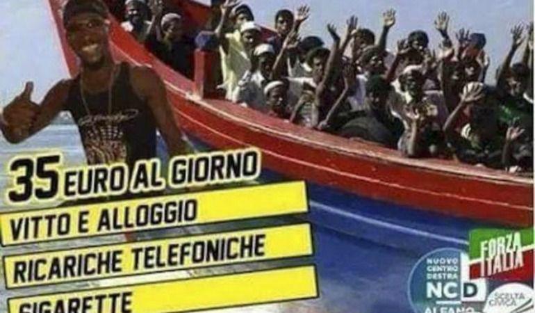 Cartel de Forza Italia en el que se mofa de los inmigrantes.