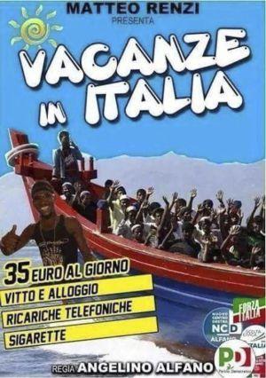 """""""Vacaciones en Italia por 35 euros"""", el cartel xenófobo del partido de Berlusconi"""