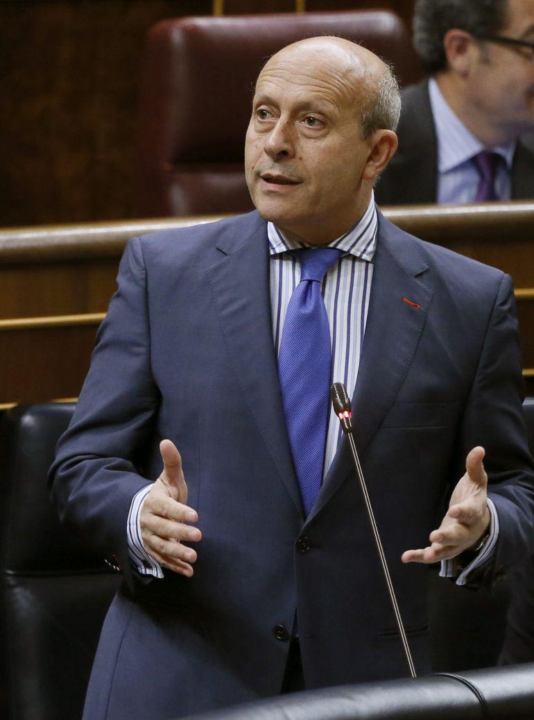 El ministro de Educación, José Ignacio Wert, durante la sesión de control al Gobierno en el Congreso.