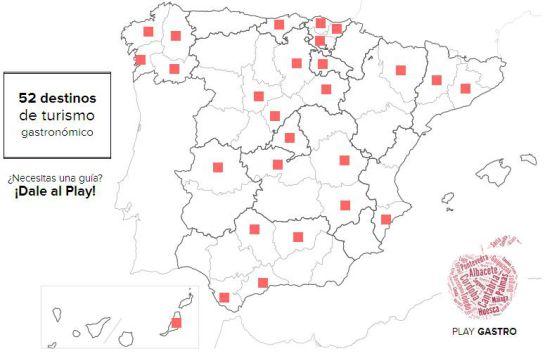 Mapa de los destinos de Play gastro.