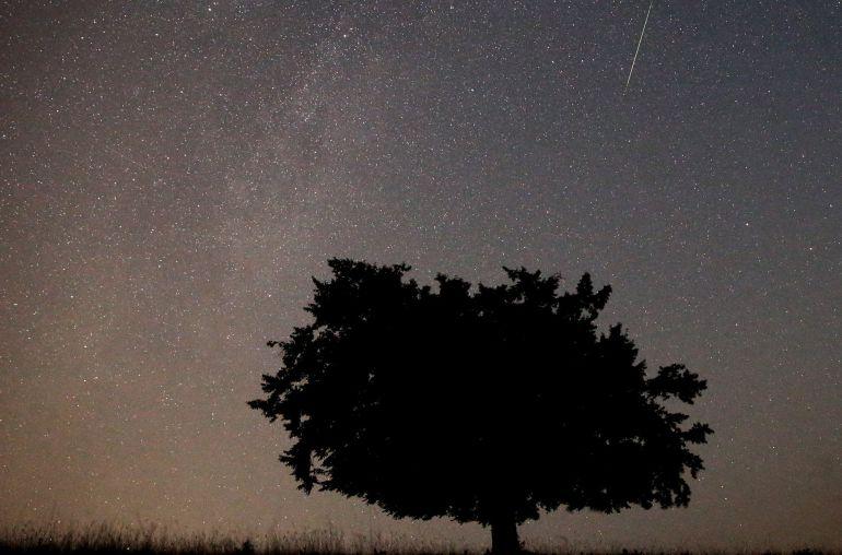 Una perseida cruza un cielo estrellado.