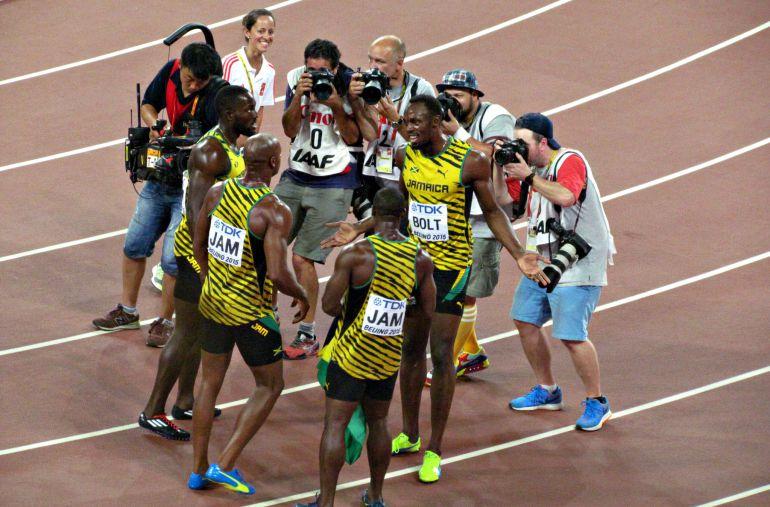 Usain Bolt tras ganar el 4x100 en Pekín