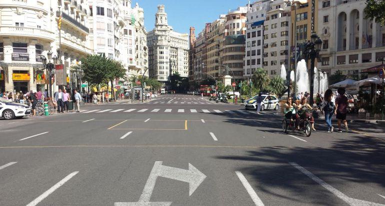 El Día Europeo Sin Coches 2015 en la plaza del Ayuntamiento de Valencia