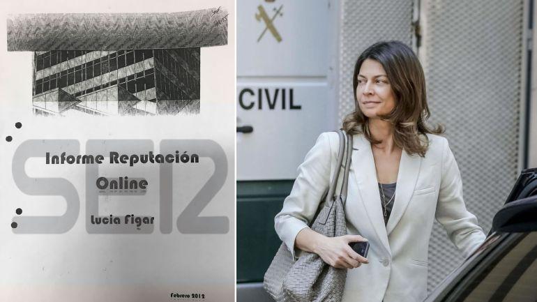 Lucía Figar, tras su declaración, y la portada del Informe de reputación online elaborado por Alejandro de Pedro, 'conseguidor' de la trama Púnica