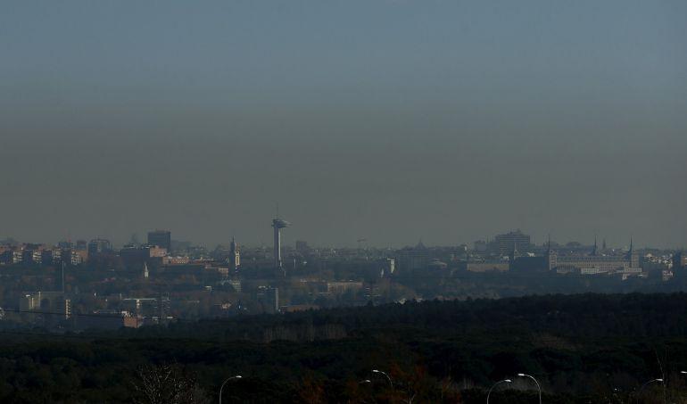 Vista de la capa de contaminación que cubre la ciudad de Madrid