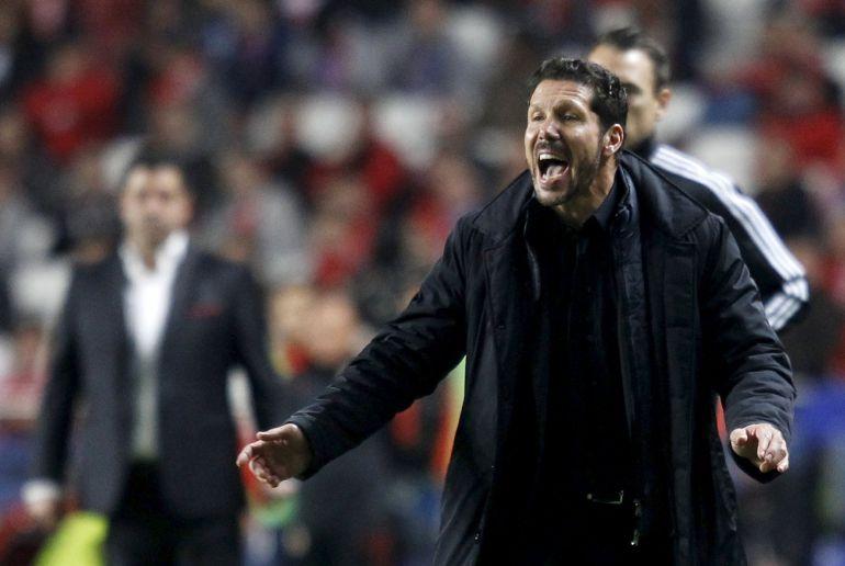 El Cholo Simeone durante el partido ante el Benfica