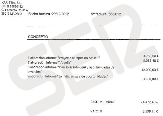 Imagen de la factura pagada al despacho vinculado a Gustavo de Arístegui por un informe sobre India cuando ya era embajador