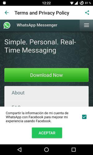 Capturas de pantalla de los menús ocultos de WhatsApp