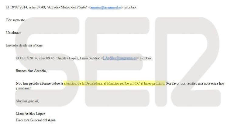 Correo electrónico enviado por la vicepresidenta de Acuamed, Liana Ardiles, en el que pide un informe para la reunión que iba a mantener el entonces ministro de Agricultura, Miguel Arias Cañete, con FCC