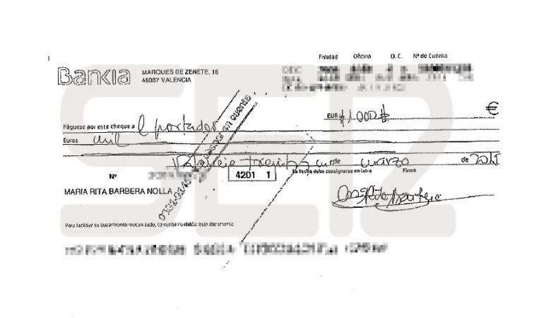 Cheque de 1.000 euros al portador firmado por Rita Barberá.