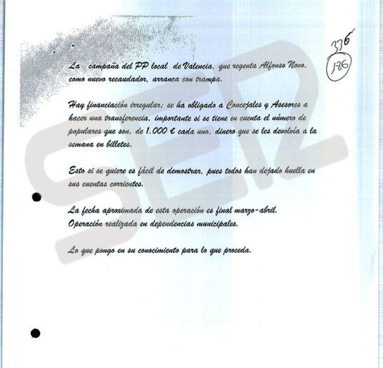 Nota anónima que dio origen a la investigación de la presunta financiación ilegal del PP de Valencia.