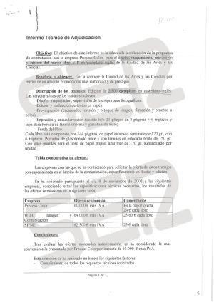 Informe técnico de adjucación de la producción y el diseño del libro VIP en castellano e inglés de la Ciencias de las Artes y las Ciencias. Figura, entre otras, la empresa Process Color.