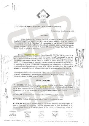 Contrato de adjudicación del libro VIP de las Artes y las Ciencias a la empresa Process Color.