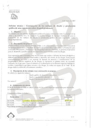Informe de adjudicación del diseño y la producción de una exposición sobre drogodependencia en el Museo de las Ciencias Príncpe Felipe.
