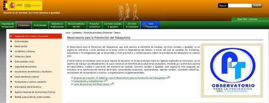 Imagen de la web del Ministerio de Sanidad