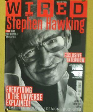 """Portada que la revista """"Wired"""" dedicó al famoso cosmólogo y divulgador científico Stephen Hawking y que está en la puerta de entrada de su despacho en la Universidad de Cambridge."""